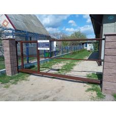 Откатные ворота со встроенной калиткой ОВ16