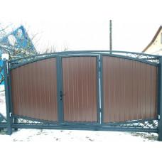 Откатные ворота ОВ4 с калиткой и элементами ковки.