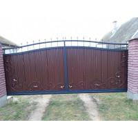 Откатные ворота с элементами ковки ОВ5